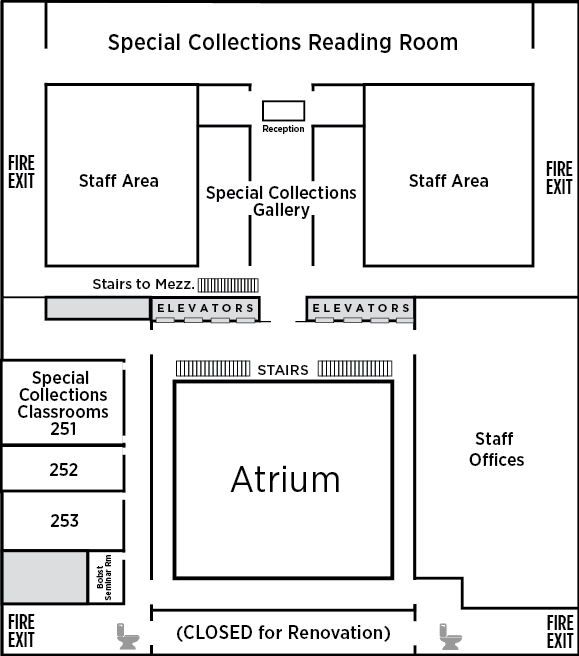 Floor 2 of Bobst. South side Special Collections Center with gallery, reception, and reading rooms. East side special collections classrooms 251-253, and Bobst Seminar room. West side: staff offices. Bathrooms and fire exits northeast and southeast corners.